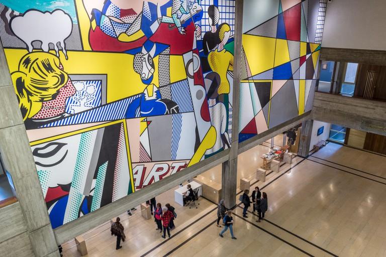 Tel Aviv museum mural in the lobby of the Tel Aviv museum of art