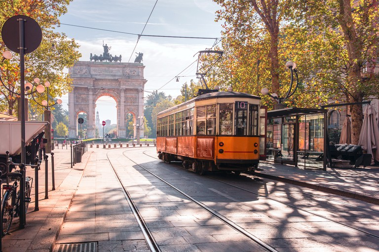 Famous vintage tram in Milan, Lombardia, Italy