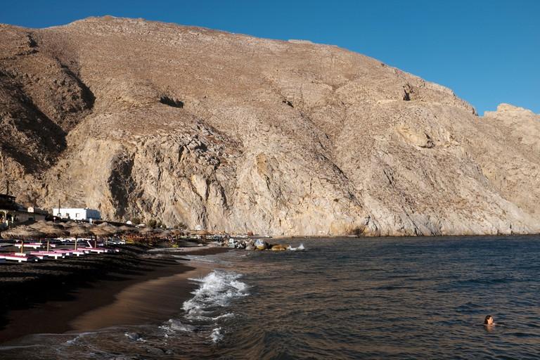 Mesa Vouno and Perissa Beach, Perissa, Santorini. Image shot 10/2016. Exact date unknown.