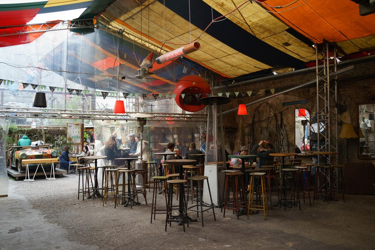Inside the ruin pub Szimpla Kert, Budapest, Hungary, Apr. 4, 2015.