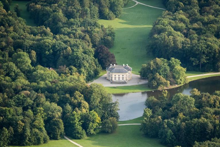 aerial view of the Badenburg pavilion, Schlosspark Nymphenburg, Munich, Germany