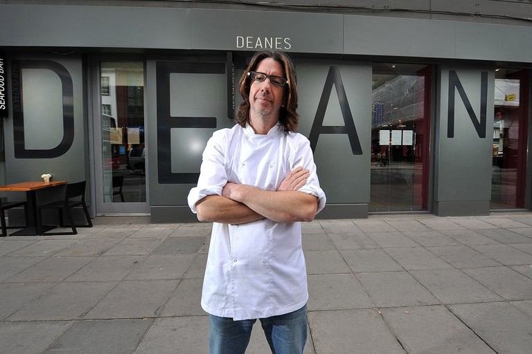 "Chef Michael Deane is pictured outside his Michelin starred restaurant ""Deane's"" in Belfast"