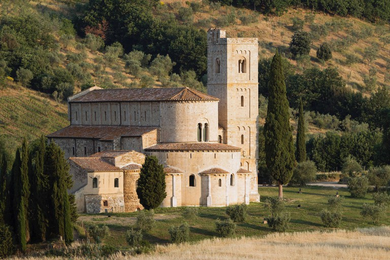 The Abbey of Sant'Antimo, Sant'Antimo, Tuscany, Italy, Europe