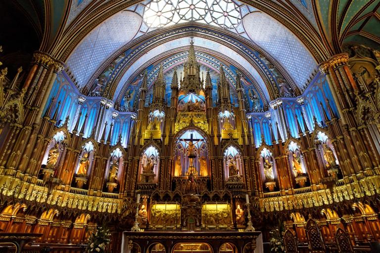 Main altar inside Notre Dame Basilica, Old Montreal, Quebec, Canada