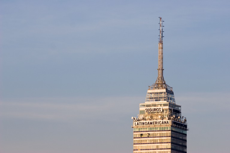 A view of the top of the Torre Latinoamericana (Latin American Tower) antenna, early in the morning, Mexico City DF.. Image shot 02/2008. Exact date unknown.