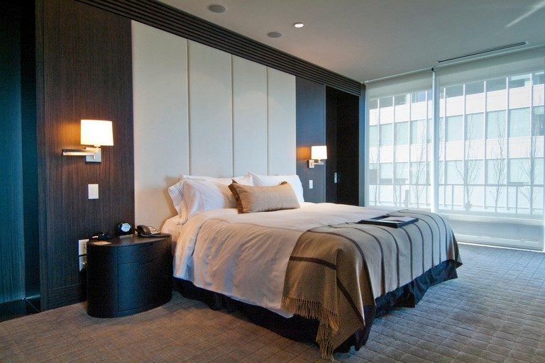 bedroom of the Owner´s Suite at the Fairmont Pacific Rim Hotel in downtown Vancouver, BC, Canada