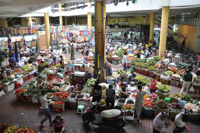 View of Hom Market (Cho Hom) in Pho Hue, Hanoi, Vietnam.