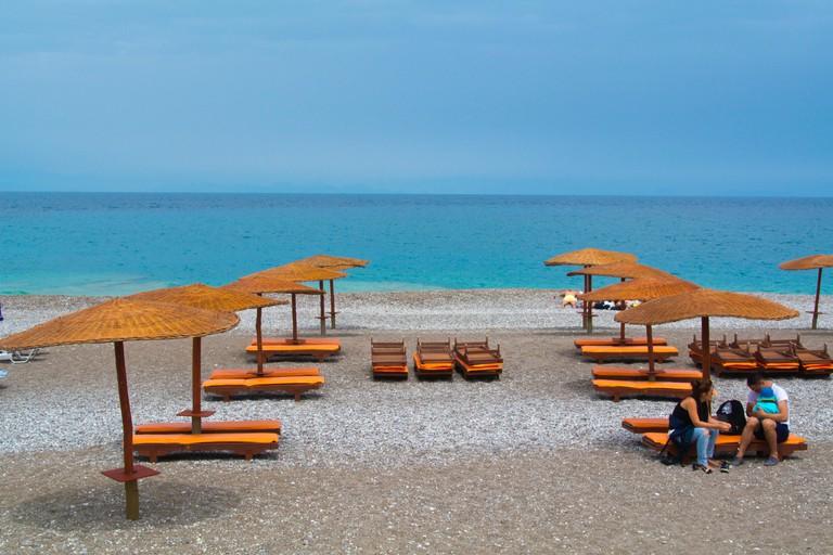 Elli beach, Rhodes town, Rhodes island, Dodecanese islands, South Aegean region, Greece, Europe