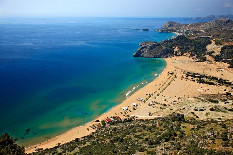 Tsambika beach, Rhodes island, Dodecanese, Greece. Photo taken from the monastery of Panagia Tsambika