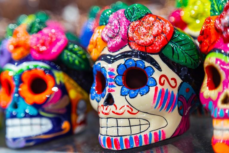 Traditional mexican ceramics ceramic skull on the street market.
