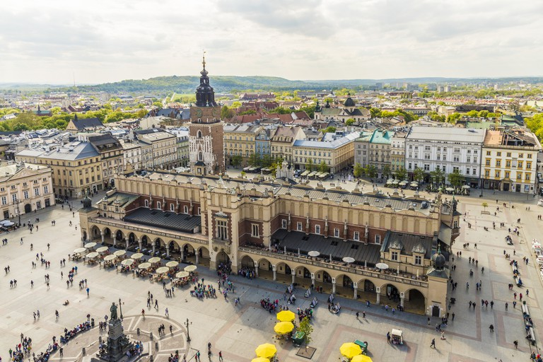 Elevated view of Cloth Hall in the Main Square in the medieval old town, UNESCO World Heritage Site, Krakow, Poland, Europe