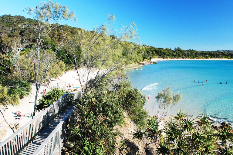 The Pass, Byron Bay. Byron Bay's beachside location and laid-back vibe make it a popular stop for backpackers