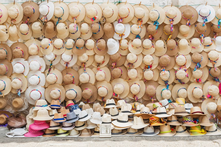 Hats on the display at street vendor in Cartagena, Colombia
