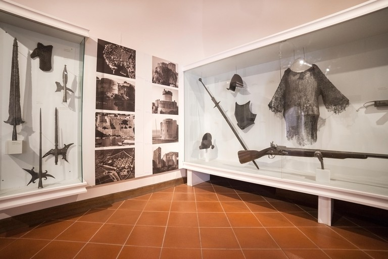 DUBROVNIK, CROATIA - MAY 27, 2014: Weapons exhibit in the Cultural Historical Museum inside the Rectors Palace. The majority of