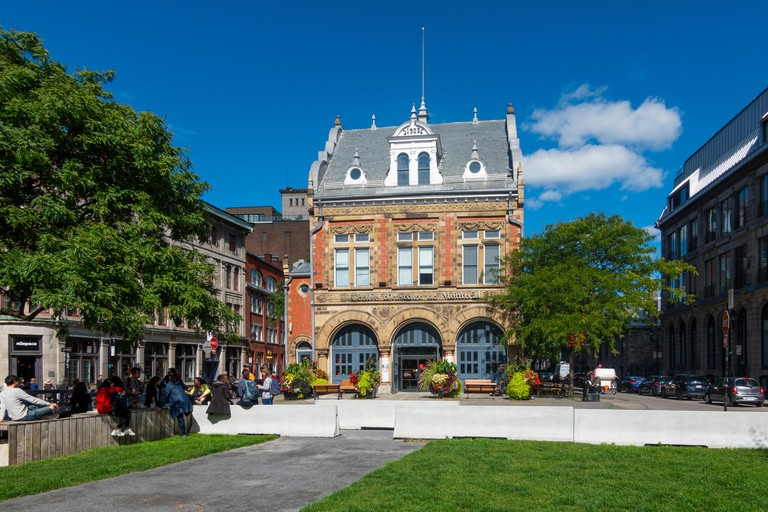 The exterior of Centre d'histoire de Montreal in the Old Town, Montreal, QC, Canada
