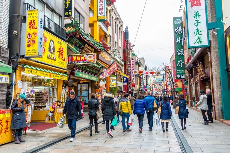 Yokohama Chinatown colourful shopfronts, Yokohama, Kanagawa, Japan.