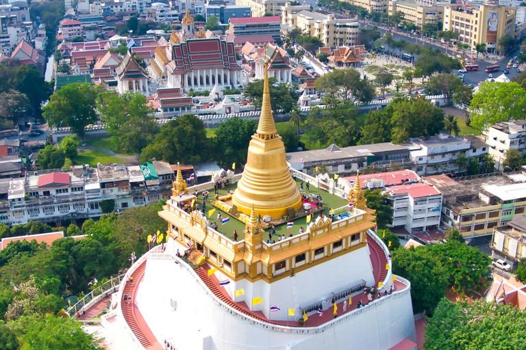 Aerial View With Drone. Wat Saket, The Golden Mount Temple, Travel Landmark of Bangkok, Thailand.