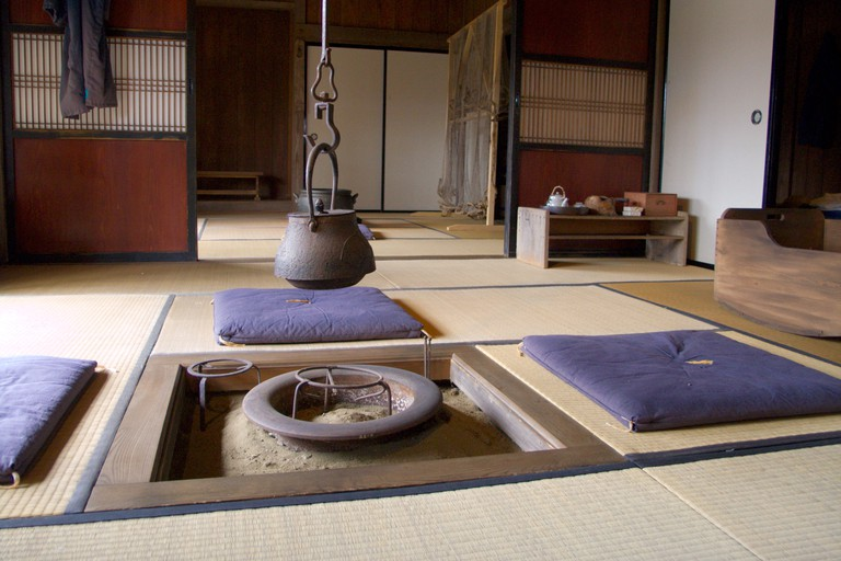 Interior of a recreated old home in the Historical Village of Hokkaido, Japan.