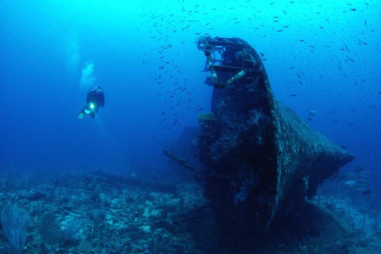 Diver at Wreck Der Yang Kavieng Papua New Guinea