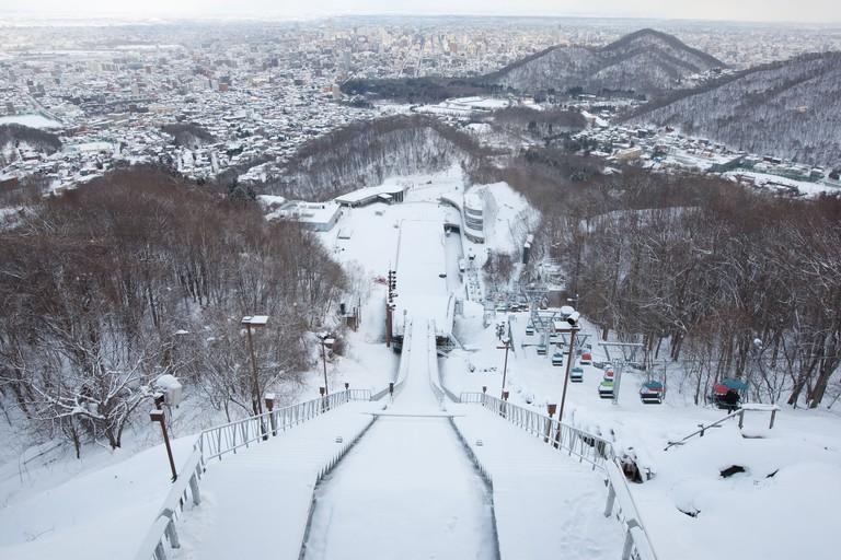 Okurayama Ski Jump Stadium in Sapporo, Japan.