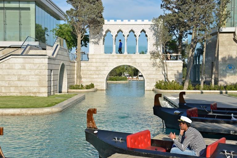 Pleasure boats in Little Venice (Kicik Venesiya), Baku, Azerbaijan