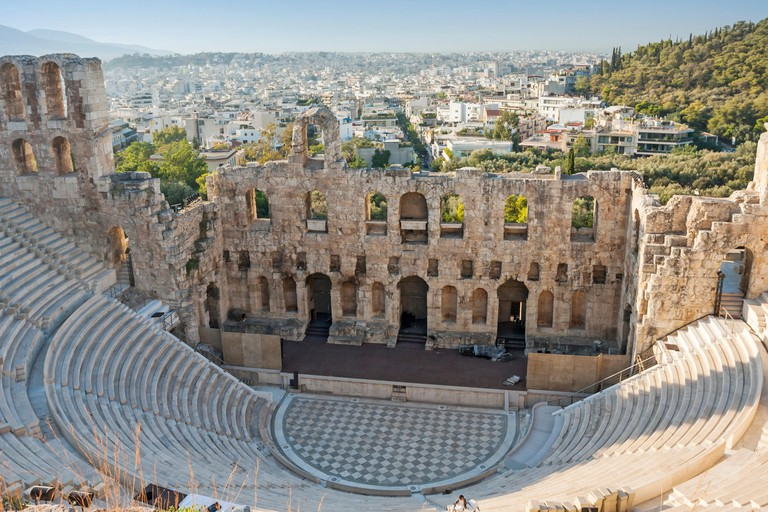 The Odeon of Herodes Atticus, a stone theatre structure in the Acropolis of Athens in Athens, Greece.