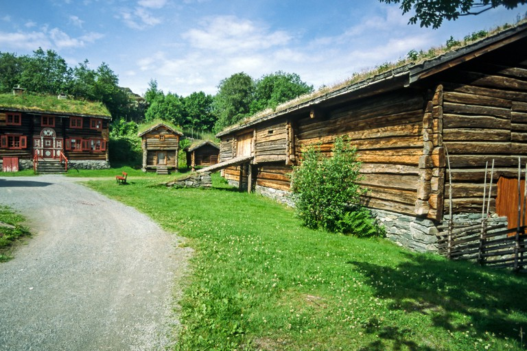 old buildings in Sverresborg Trondelag Folk Museum in Trondheim Norway. Image shot 07/2002. Exact date unknown.