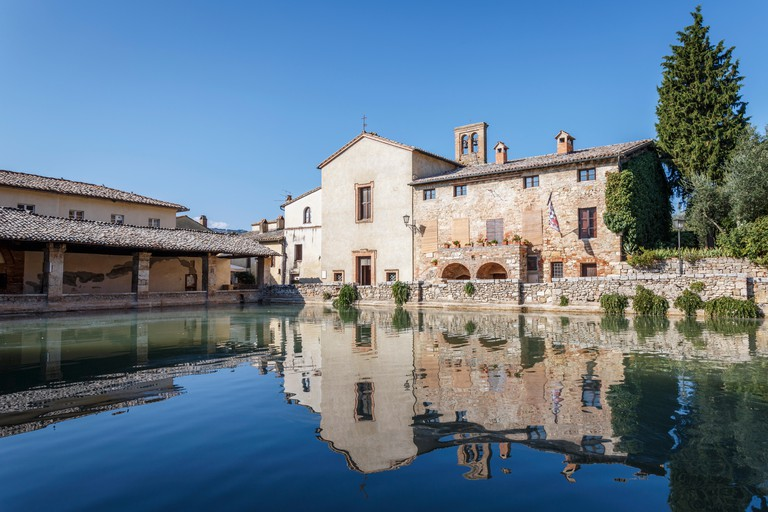 Bagno Vignoni thermal baths, San Quirico d'Orcia, Val d'Orcia, Siena province, Tuscany, Italy.