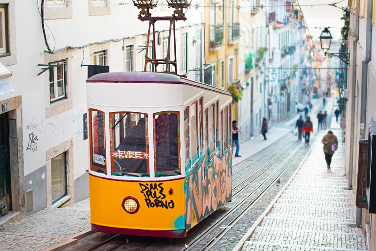 Lisbon funicular. Image shot 01/2015. Exact date unknown.