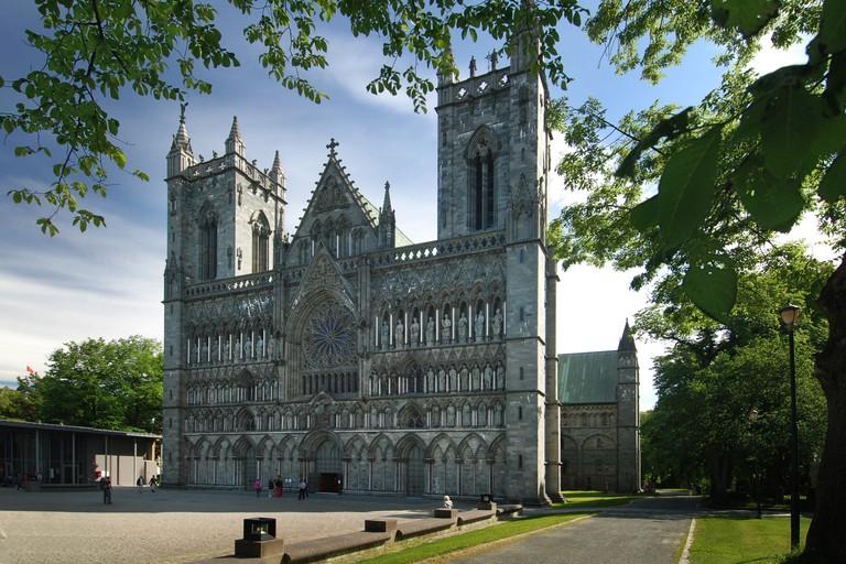 Facade of Nidaros cathedral, Trodheim, Norway