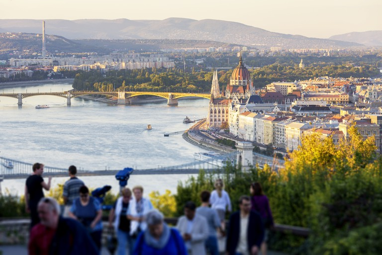 Look-out point at Citadella in Budapest at sunset