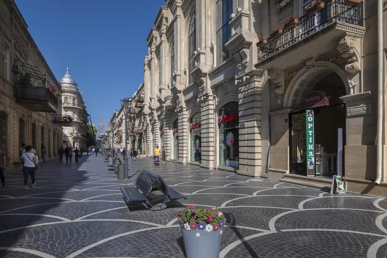 Pedestrians on Nizami Street in Baku,Azerbaijan