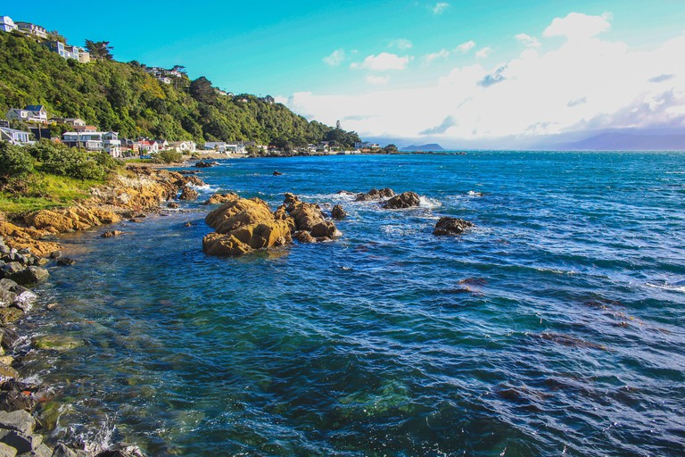 Picturesque view over Karaka Bay and Scorching Bay in Miramar, Wellington, North Island, New Zealand
