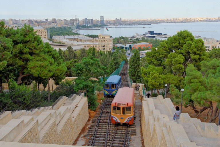 Baku, Azerbaijan 2010.The Baku Funicular railway.