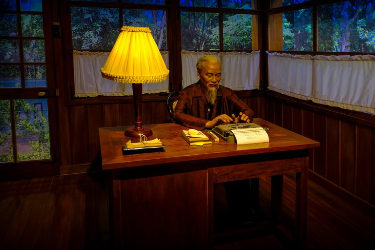 Vietnam, Hanoi, Ho Chi Minh Museum: Ho Chi Minh, at work in his office. The Ho Chi Minh Museum is located in Hanoi, Vietnam. It is a museum dedicated