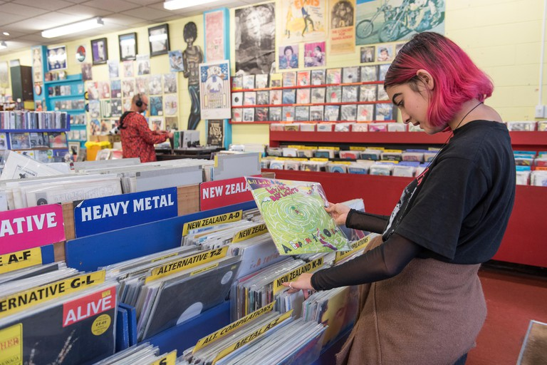 Slow Boat Records is a popular music shop which sells new and used CDs, DVDs, and records and is located on Cuba Street in downtown Wellington, New Ze