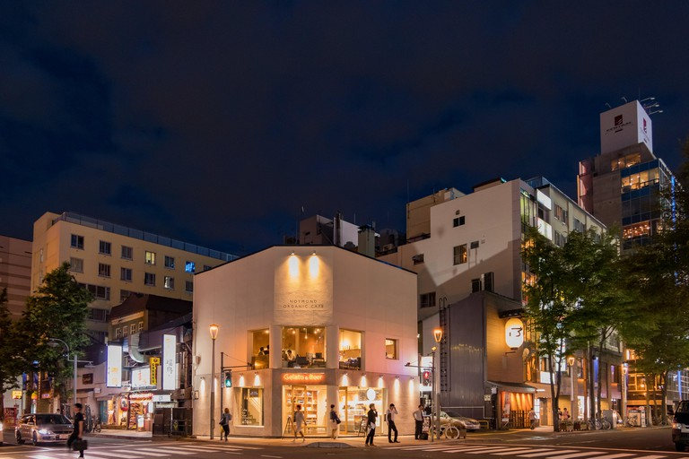 Night view of the Noymond Organic Cafe