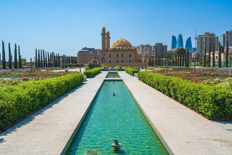 Baku, Azerbaijan July 30, 2019 View of the mosque Taza Pir
