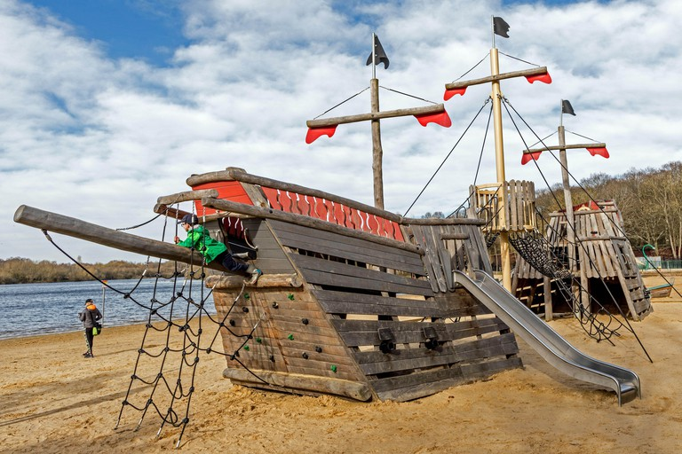 The Pirate Ship at The Ruislip Lido UK. Image shot 2020. Exact date unknown.