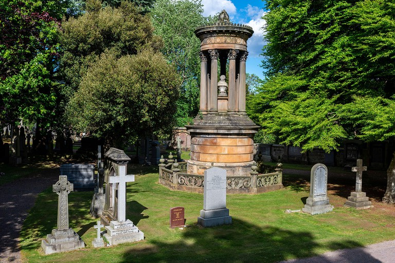 Memorial to Glasgow philanthropist James Buchanan (died 1857) in the Dean Cemetery in the West End of Edinburgh, Scotland, UK