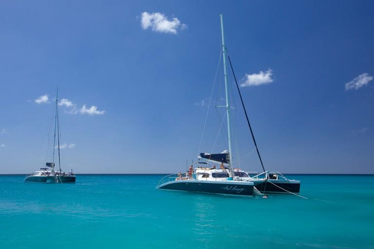 "Catamaran cruise sailing in the West Coast of Barbados beach, ""West Indies"""