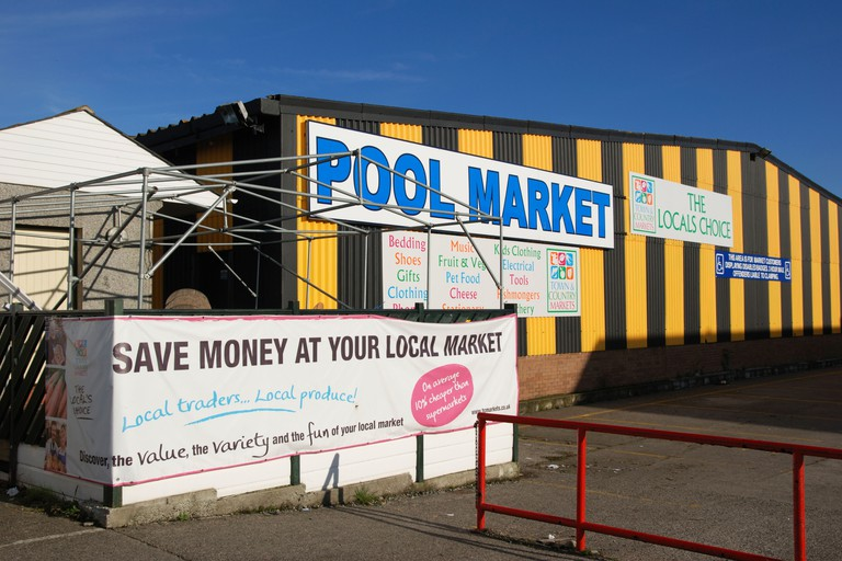 pool market near redruth in cornwall, uk