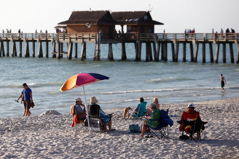 Naples beach and pier, Florida