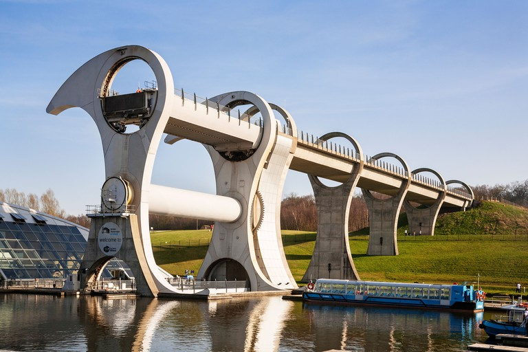 The Falkirk Wheel boat lift on the Union Canal, Falkirk, Scotland.