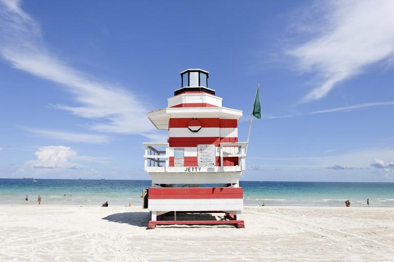 Lifeguard Tower of South Pointe Park on Miami South Beach, Florida.