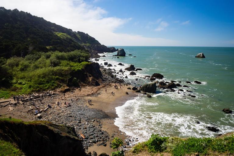 Mile Rock Beach, San Francisco, California, Golden Gate National Recreation Area, USA, sunny spring day