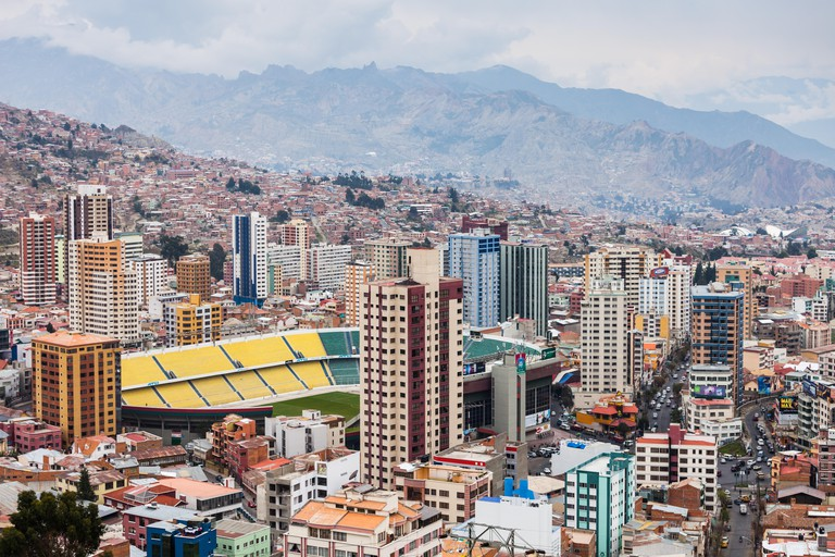 LA PAZ, BOLIVIA - MAY 16, 2015: La Paz panoramic view, Bolivia. La Paz is the worlds highest administrative capital.