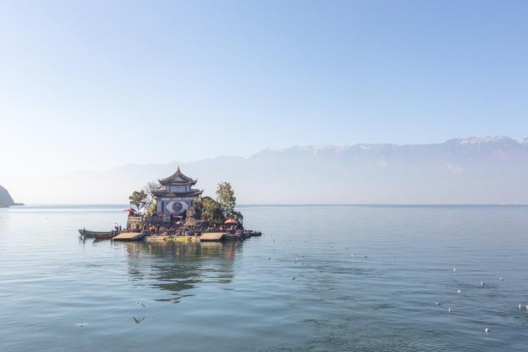 Xiao putuo island on erhai lake in Yunnan , china . large copy space