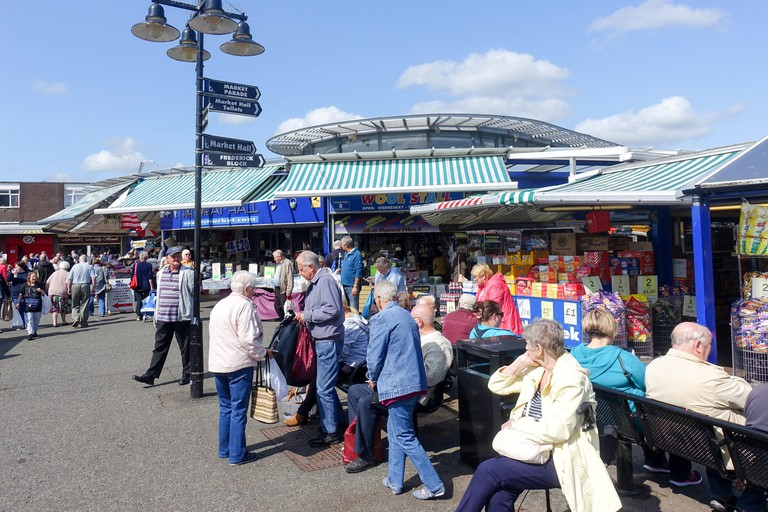 Award-winning Bury Open Market in Greater Manchester contains dozens of stalls and attracts large crowds, including coach tours from many miles away.. Image shot 06/2018. Exact date unknown.