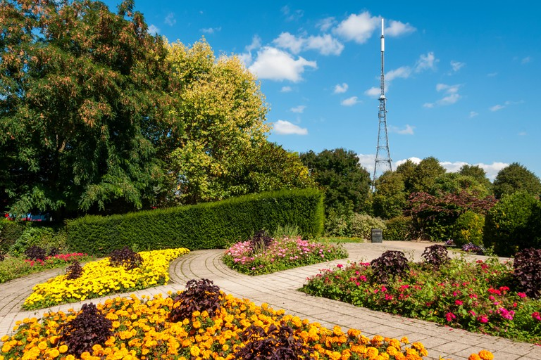Crystal Palace TV aerial seen over colourful flower beds in Crystal Palace Park.